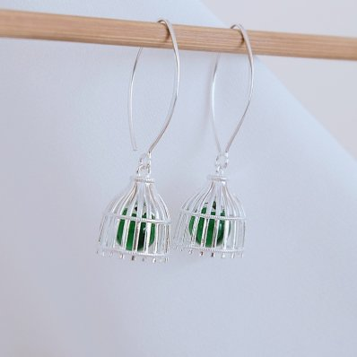 Green Fishnet Earrings