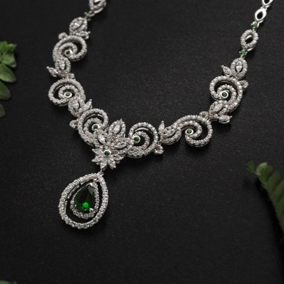 Green & White Cubic Zirconia Necklace