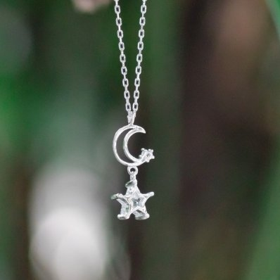 Falling Star and Moon Necklace