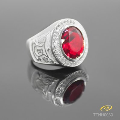 Ring With Red Cubic Zirconia for Men