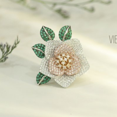 Flower and Leaves Ring