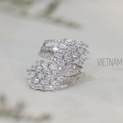 Abstract Silver Cubic Zirconia Ring